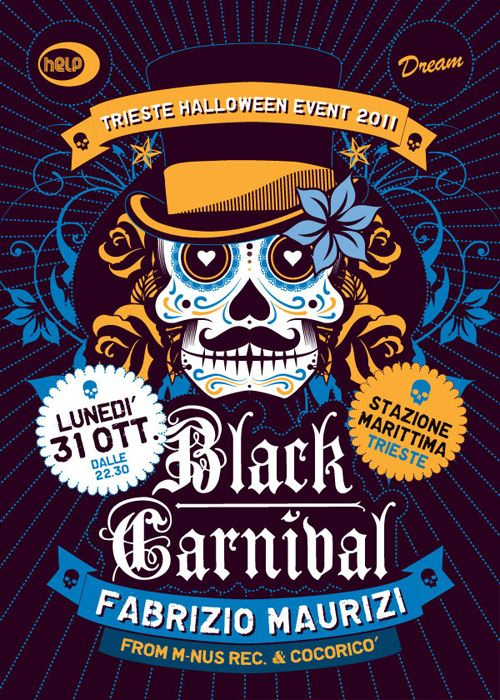 "2011 edition for the annual halloween event at Stazione marittima in Trieste, named ""Black Carnival"". Even this year, for the flyers and posters design, the inspiration comes from the mexican sugar skulls. I've designed Logo, FLyers and posters."