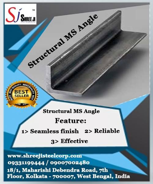 Shree Ji Steel Corporation is a reputed organization in supplying a wide range of Structural MS Angle. Structural MS Angle are used for manufacturing of truck-trailers, EOT crane and Gantry, escalators and elevators, ship building, factory sheds, bus body, communication and transmission towers, conveyors, boilers, agricultural equipment, and construction of bridges, scaffolding and many more fabrication and engineering industries.  To know in more details, please call us at +919331199444