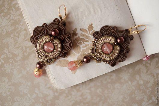 Серьги ручной работы. Ярмарка Мастеров - ручная работа. Купить Сутажные серьги с натуральным камнем. Розовый,коричневый,золотой.. Handmade.