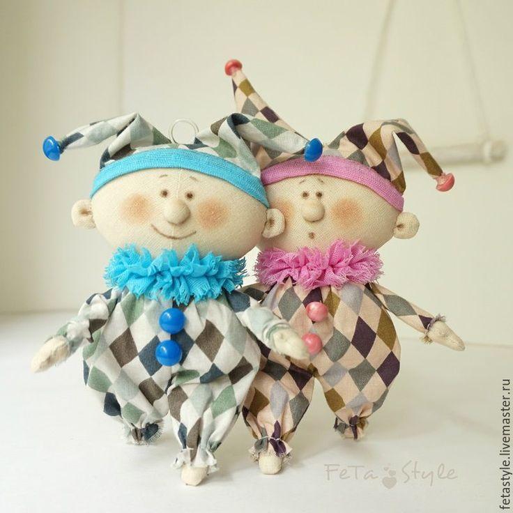 Купить Маленькие Арлекины Розовый & Голубой Куклы-подвески текстильные - кукла малышка