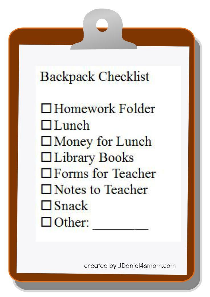 Backpack Checklist #weePLAN