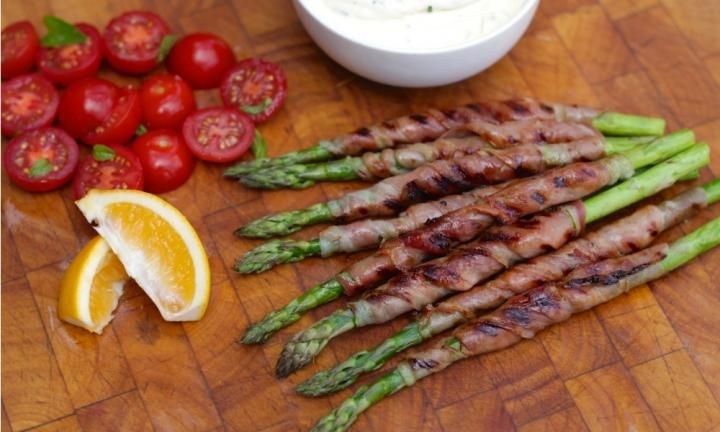 Make the most of seasonal asparagus and serve it at your Christmas party this year. Barbecued and served on a wooden board, it sings of summer evenings and festive celebrations.