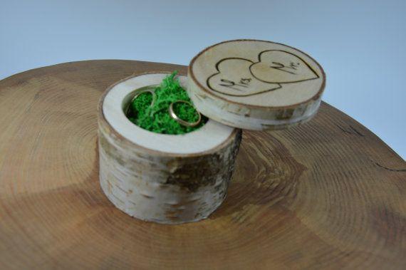 BERKEN Box van de witte Ring Ring kussen Ring door woodenartgallery
