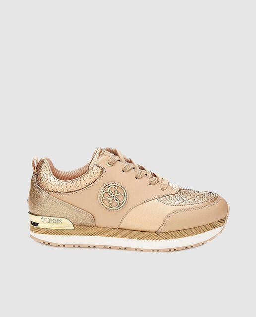 Zapatillas deportivas de mujer Guess color beige con combinación de texturas afb5603365f
