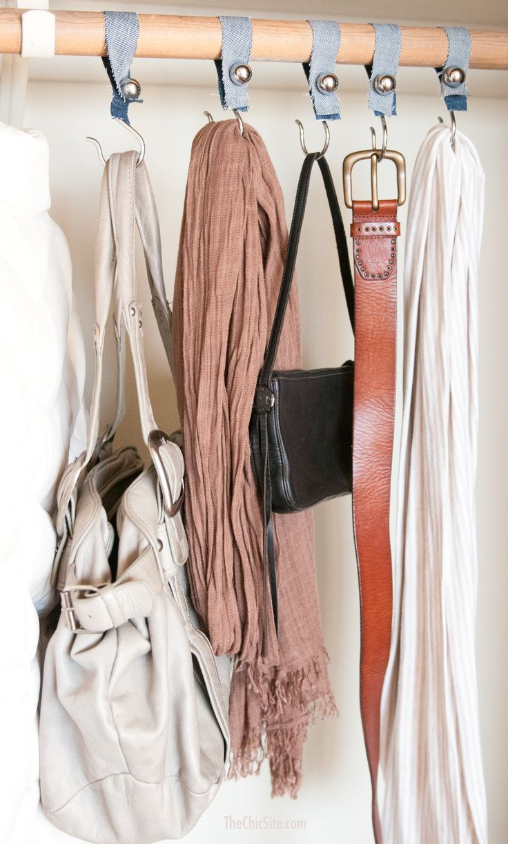 DIY How to Make Closet Hooks out of Shower Curtain Hooks to Hang Accessories #organization