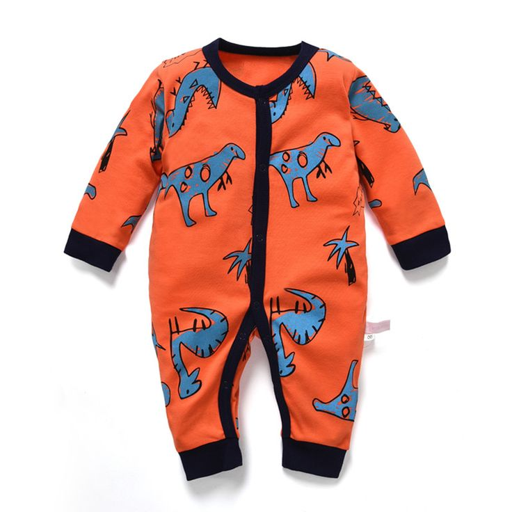 newborn baby boy rompers long sleeve pajamas for girl spring summer dinosaur jumpsuit toddler overalls unisex one piece cotton #Affiliate