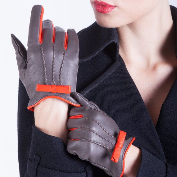ON SALE: Italian Handmade Women's Leather Gloves Dress Gloves Winter Gloves…