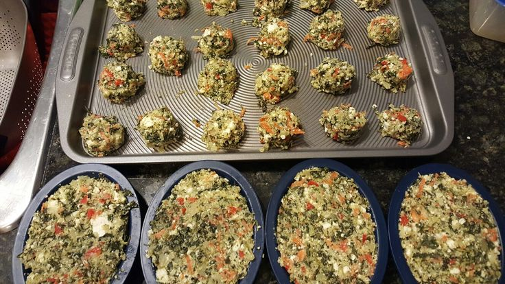 Lina's spinach, carrot, red pepper, onion & feta vegetable bites.