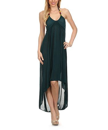 Another great find on #zulily! Green Beaded-Strap Hi-Low Dress #zulilyfinds