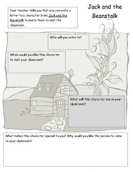 This is a graphic organizer to be used for writing a letter. It goes along with the story of Jack and the Beanstalk....