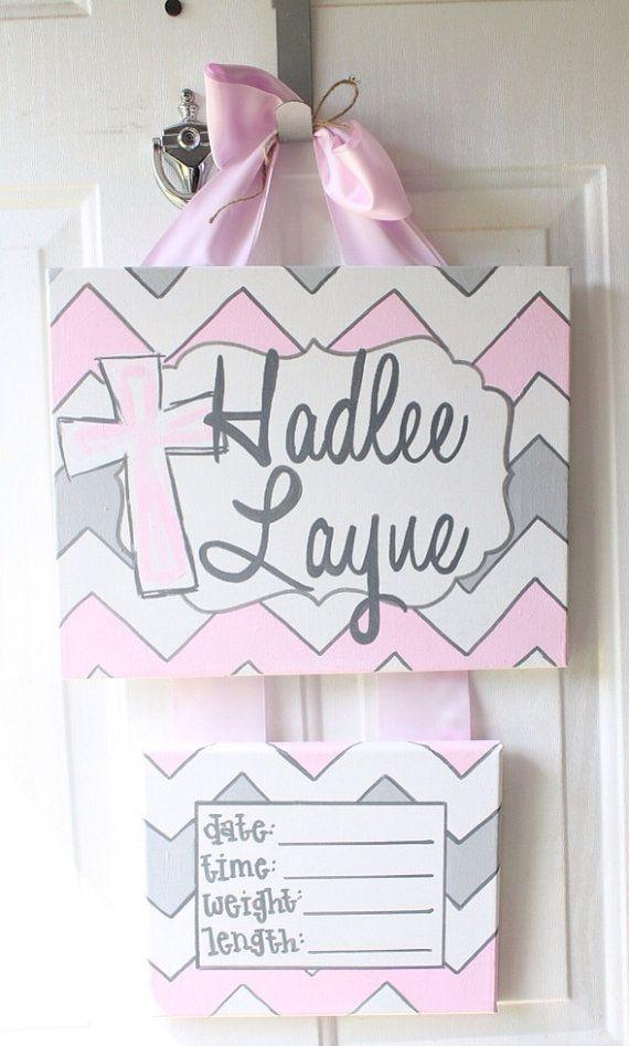 Hospital door hanger, girl chevron