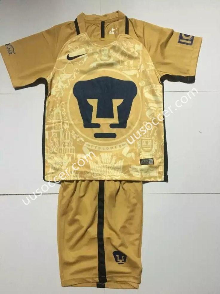 2016-17 Pumas UNAM Home Yellow Kids/Youth Soccer Uniform