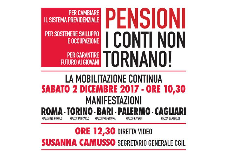 """Slogan CGIL: """"Pensioni: i conti non tornano!"""" (magari, diremmo noi)"""