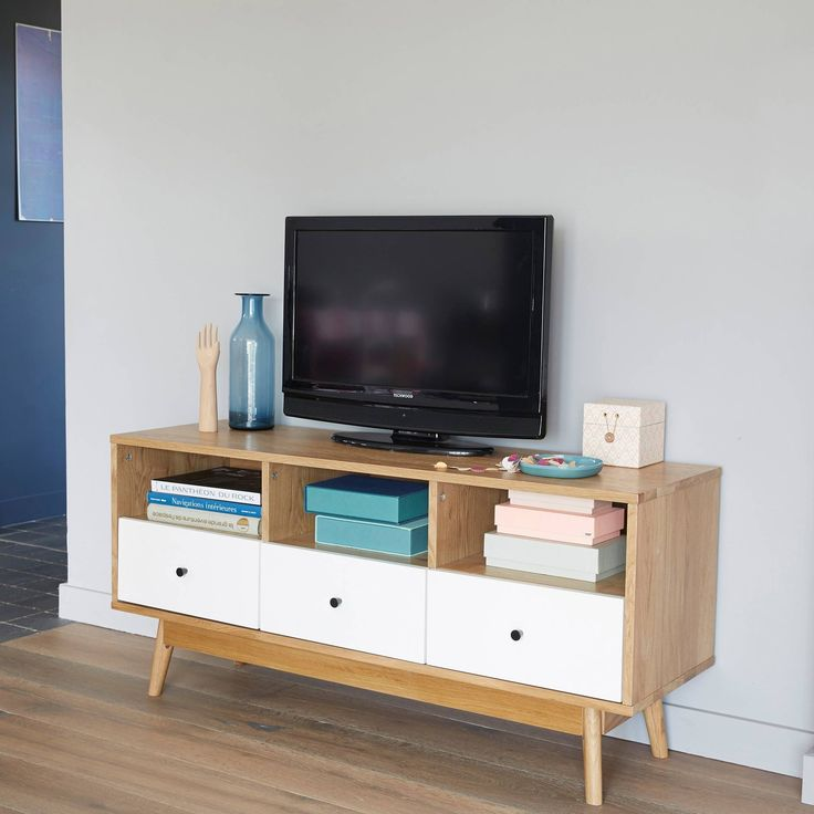 meuble banc tv 3 niches 3 tiroirs bicolore 3 suisses. Black Bedroom Furniture Sets. Home Design Ideas