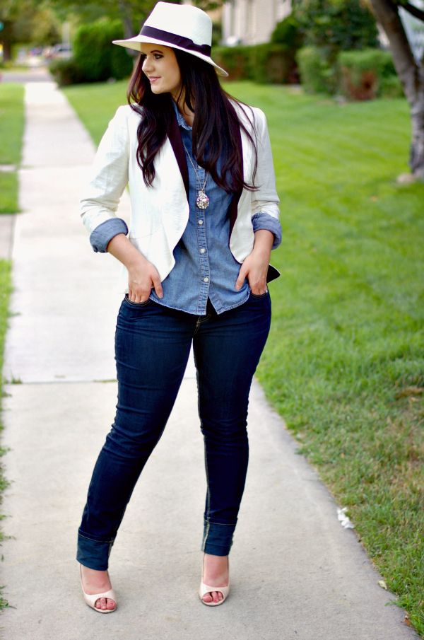 White jacket, chambray shirt, skinny jeans and that hat! So cute!!