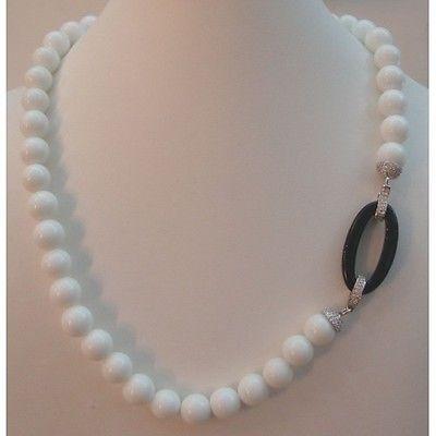 Collana girocollo donna Orelù in argento 925% con agata bianca, nera e zirconi
