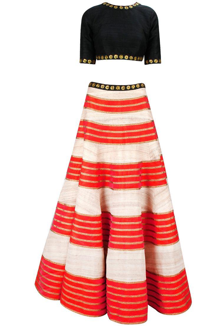 PRIYAL PRAKASH Orange and black gold sequin embroidered lehenga set available only at Pernia's Pop-Up Shop.
