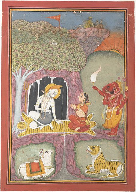 Shiva's family. Ink, gouache, and gold on paper, India, Rajasthan, Bundi or Kotah, ca. 1730, Berkeley Art Museum, Shiva sits on a tiger skin in a cave and Parvati kneels before him with her hands in namaskar. A red colored Ganesha stands behind her holding a fly-whisk. In the foreground Shiva's bull, Nandi and Parvati's tiger recline against green grounds encircled by rock split in the center to let the water [the river Ganges] flow from Shiva's locks.
