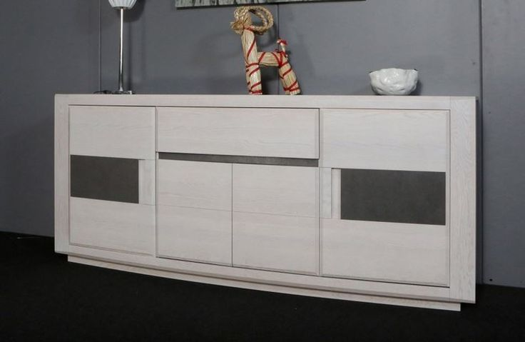 Meublea - Collection Ottawa - Enfilade 4 portes avec 1 tiroir. possibilité d'insert céramique sur les façades des portes et sur le plateau de l'enfilade.  Dimensions : L 235 / H 100 / P 53.5
