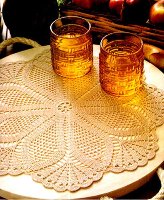 PDF Vintage 1970s PINEAPPLE 'Floral' Lacy Filet Crochet Doily Crochet Pattern, Retro, Heirloom, Home Decor, Keepsake, soo.... Prettyx