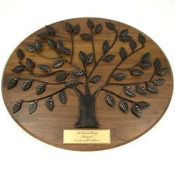 Personalized Family Tree Plaque with Gold Engraved Plate