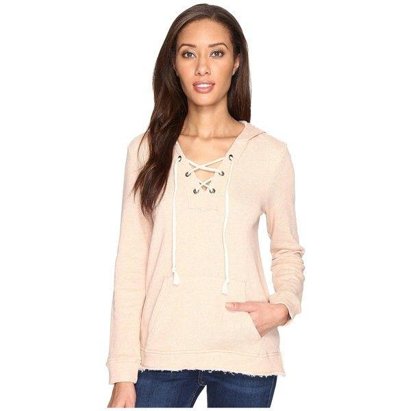 Splendid Lace-Up Hoodie (Pink Beige) Women's Sweatshirt ($128) ❤ liked on Polyvore featuring tops, hoodies, sweatshirt hoodies, pullover hoodie, pink pullover hoodie, beige hoodie and pink hoodies