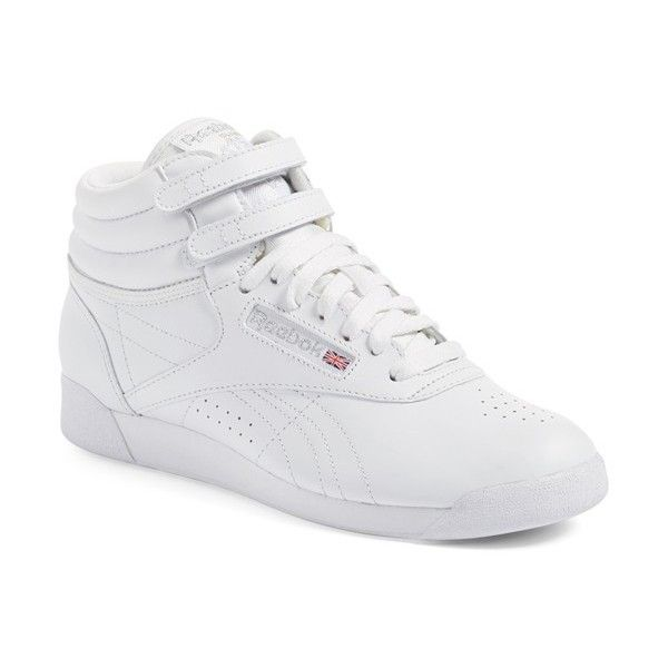 Women's Reebok 'Freestyle Hi' Sneaker ($70) via Polyvore featuring shoes, sneakers, high top shoes, hi tops, reebok sneakers, reebok footwear y reebok shoes