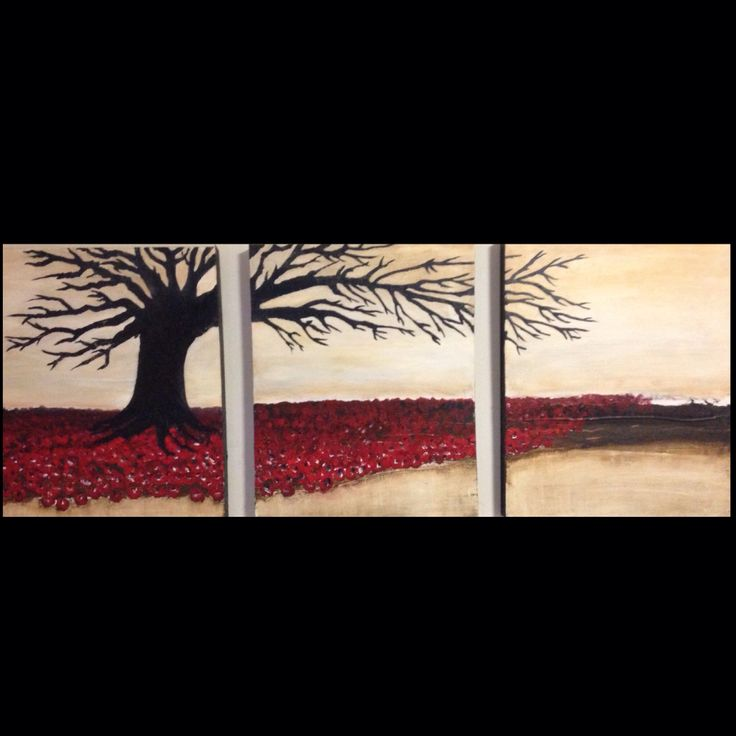 Lomen Art. Acrylic on canvas. Abstract. Red, black and White. Tree.
