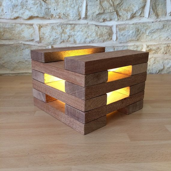 Handmade Table Desk Lamp Natural Exotic Solid Wood Home Office Lighting  Modularu2026