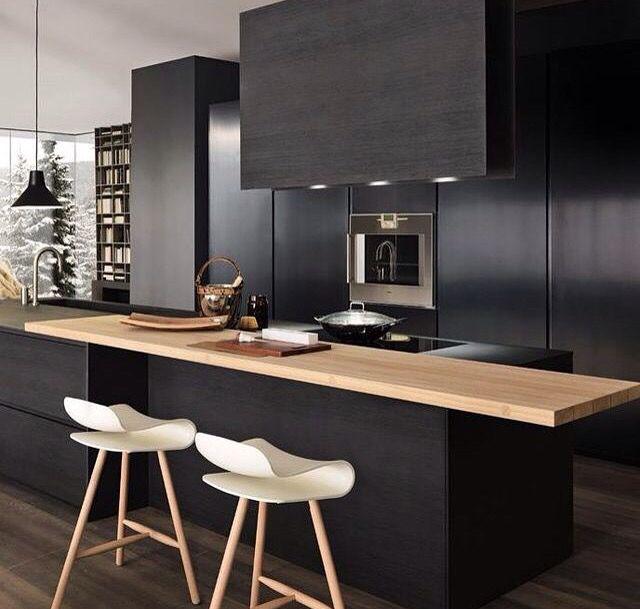 Modern black and wooden kitchen