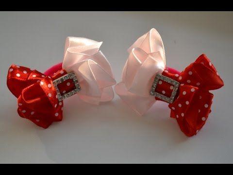 Мастер класс красивых бантиков. Канзаши. Цветы из лент. Ribbon bow - YouTube