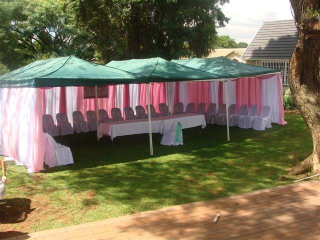 Pink and white gazebo draping