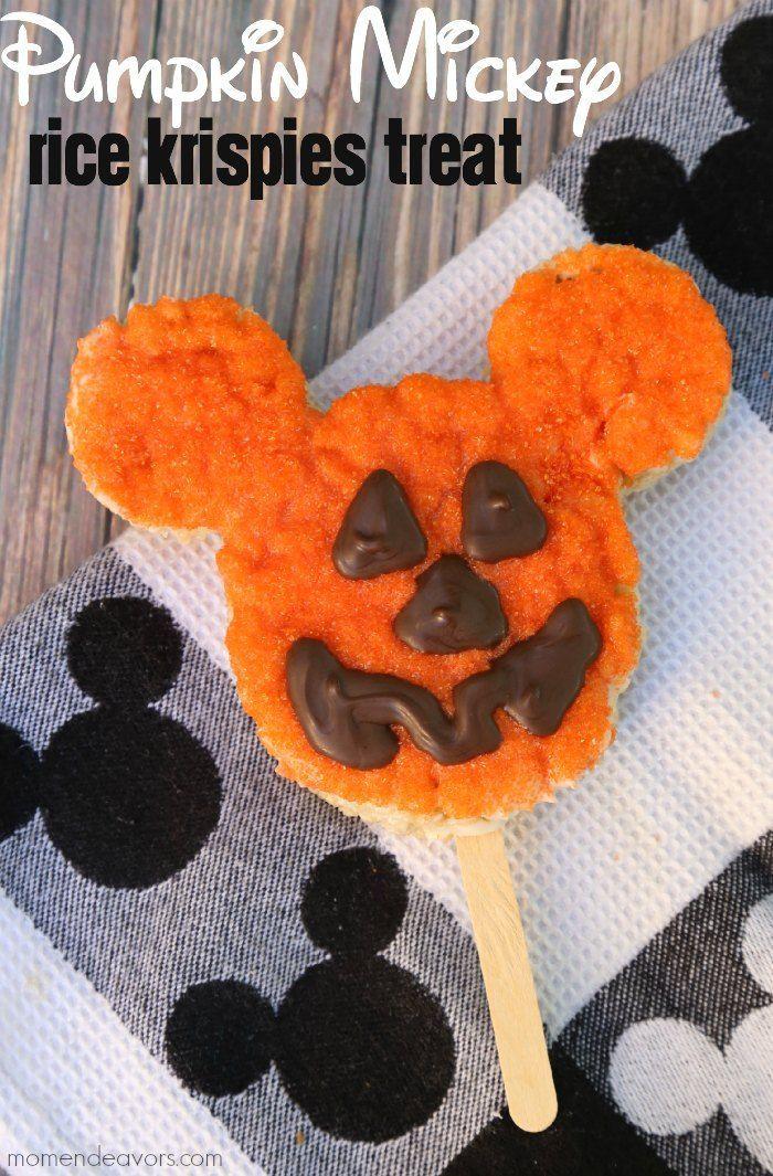 Easy Homemade Disney Treat - Pumpkin Mickey Rice Krispies Treat! FUN!