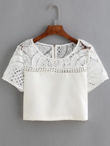 T-shirt en dentelle et crochet manche courte -blanc
