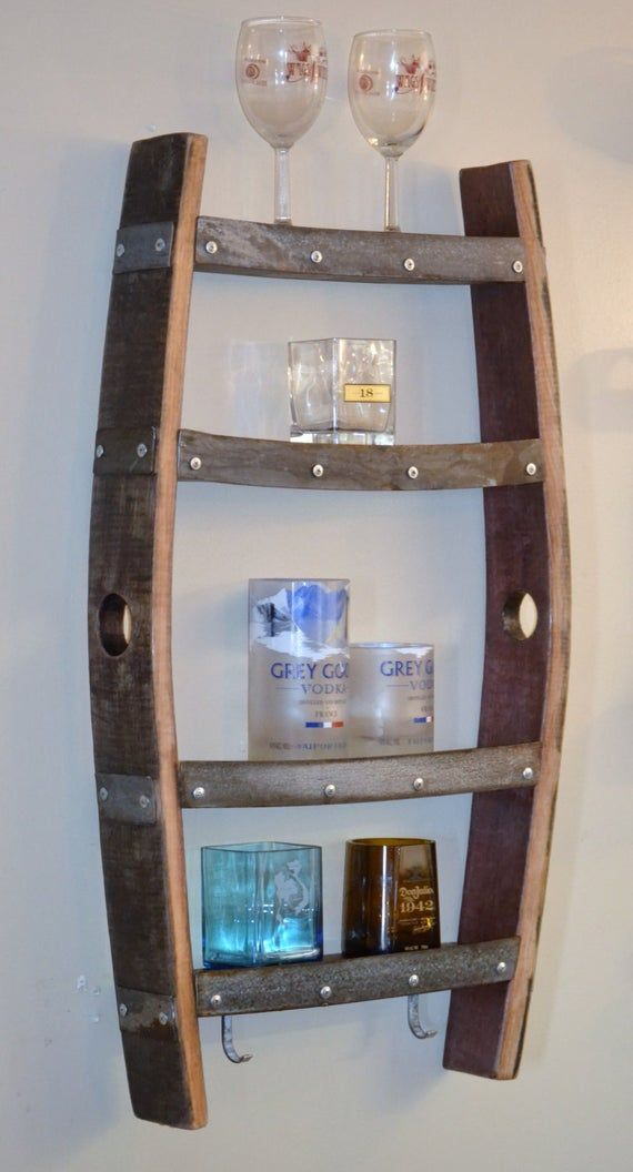 Wine Barrel Shelf Made From The Staves Of A Retired Oak Wine Barrel These Shelves Are Perfect To Display And Hold All Of Your Wine A Wine Barrel Furniture Barrel Furniture