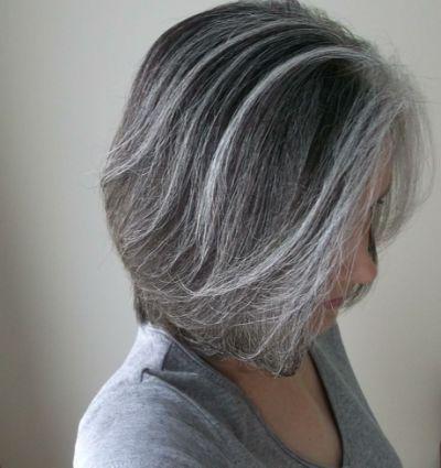 Black hair with silver streaks