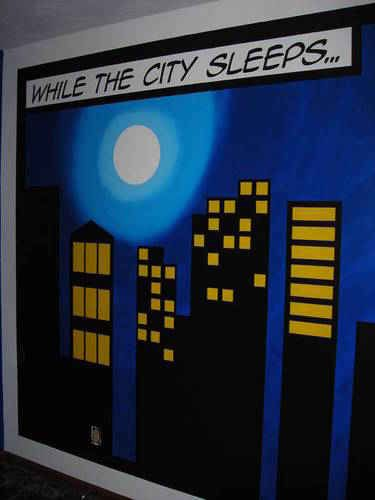 Super hero city scape wall mural kids room
