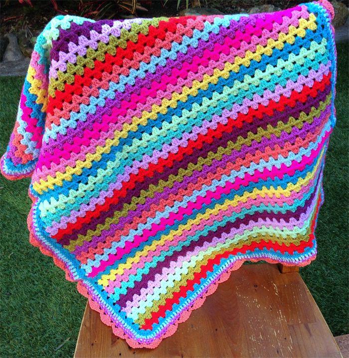 Crochet Baby/Pram Blanket Multi Colour Granny Stripe Design