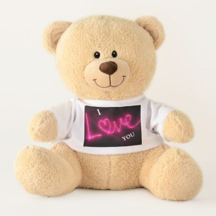 I Love You Valentine's Day Pink Lights Custom Teddy Bear - girly gifts special unique gift idea custom