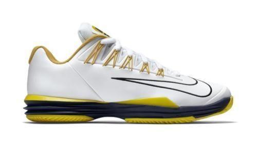 Nike Lunar Ballistec 1.5 Mens Tennis Shoes 13 White Black Yellow 705285 107 RAFA #Nike #Tennis