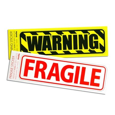 carrier, ruggage sticker. Fragile, Warning. For fragile or warning space, things, and people