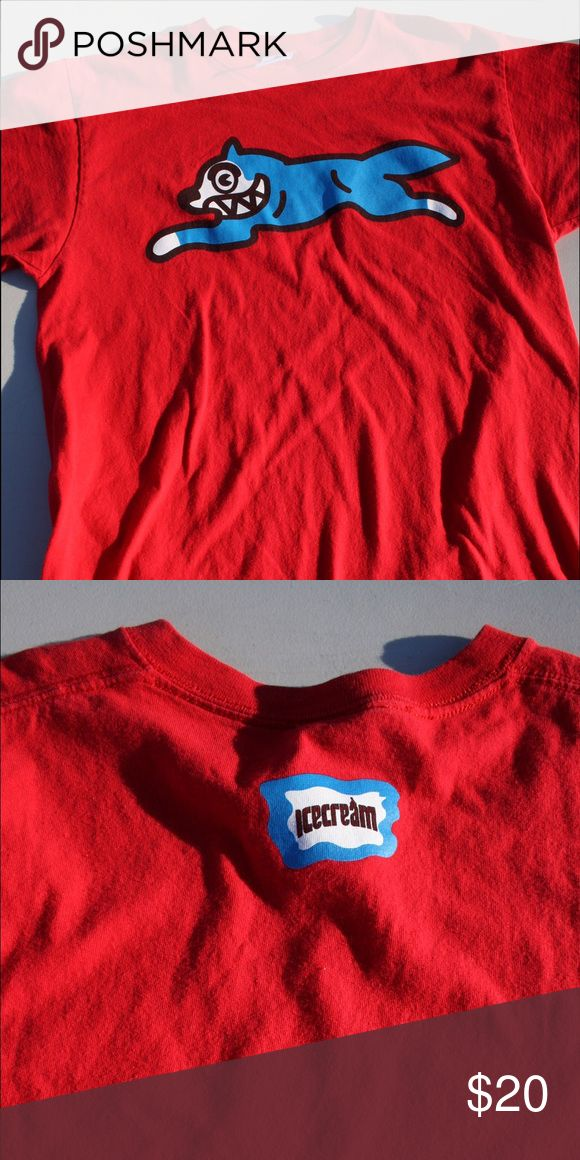 BBC Ice Cream T Shirt (L) Red shirt with Blue Fox (100% Authentic) (Mint condition) Billionaire Boys Club Shirts Tees - Short Sleeve