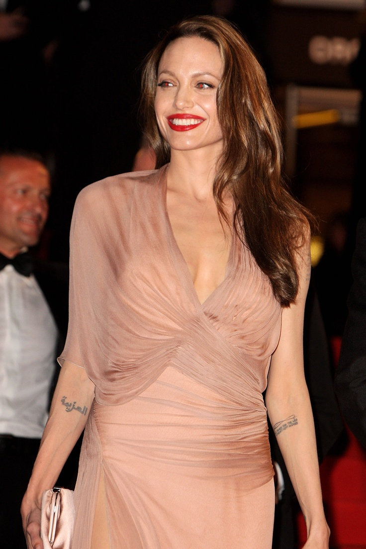 Angelina Jolie in blush Versace gown. Cannes Film Festival 2009.