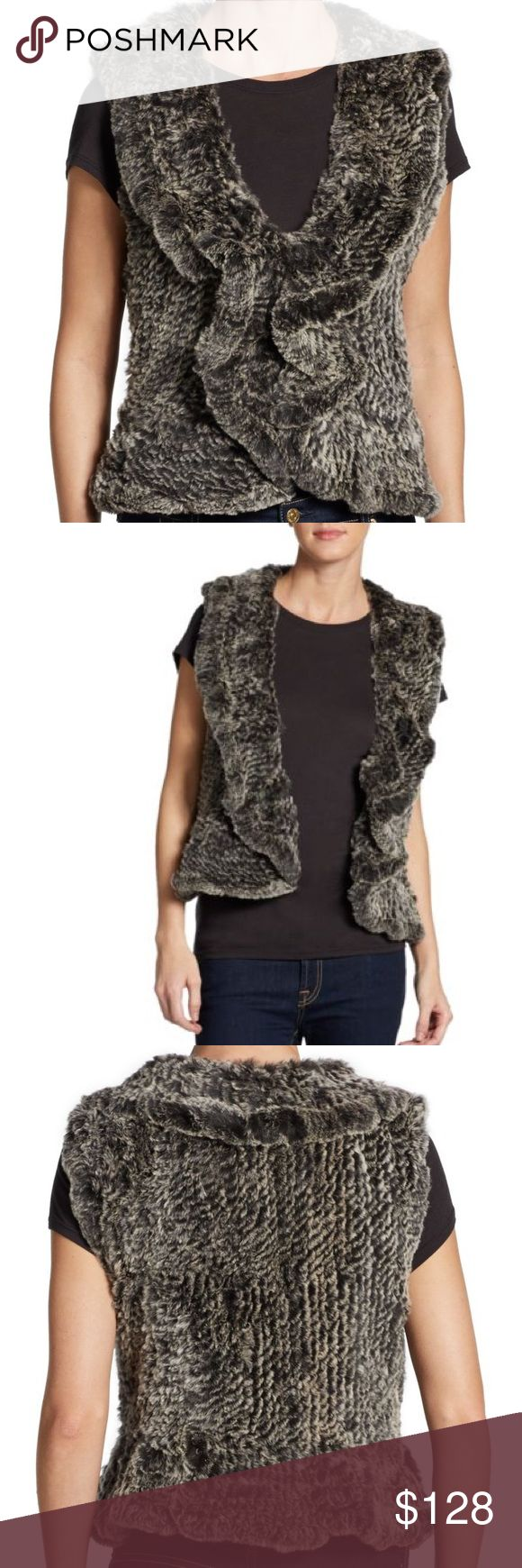 Saks Fifth Avenue Ruffle Rabbit Fur Vest No tag but brand new.  So soft and ruffled edge makes it a little different from other fur vests. It's grey and black mix.  I fell in love at store but I just do not wear it for some reason.  Cute with jeans! Saks Fifth Avenue Jackets & Coats