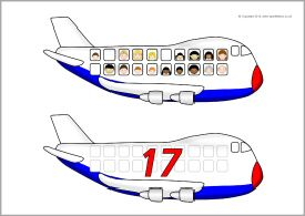 Aeroplane passenger and number matching (SB10358) - SparkleBox
