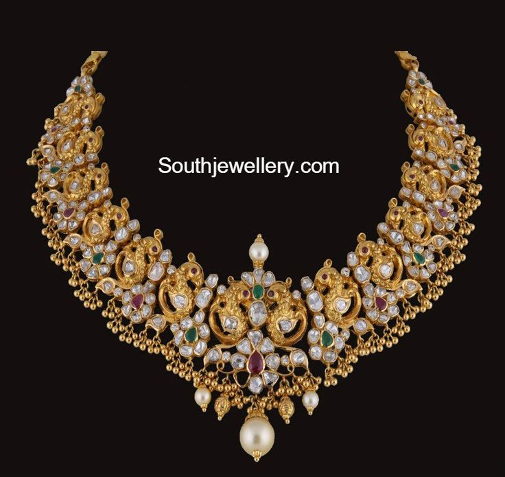 Flat Diamond Peacock Nakshi necklace photo