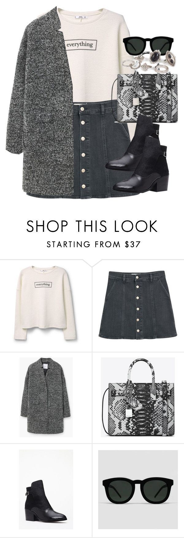 """""""Untitled #3428"""" by peachv ❤ liked on Polyvore featuring MANGO, Yves Saint Laurent, Forever 21, Quay and New Look"""