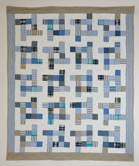 Summer Breeze: Men's shirt quilt by fiber artist Pam Bell.  2012 Exhibit at Alicia Ashman Library