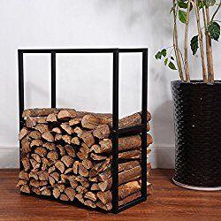 Black Metal Powder Coated Finish Fire Wood Holder Rack / Indoor & Outdoor Fireplace Log Bin – MyGift