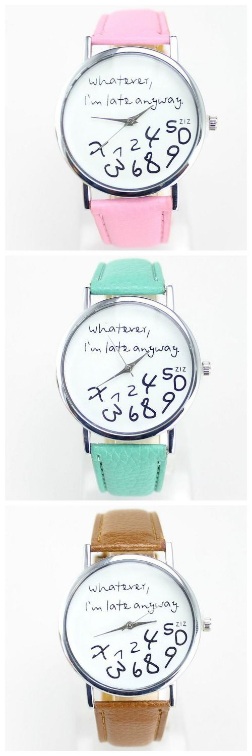 I Am Late Anyway Pink Cool Teen Watch